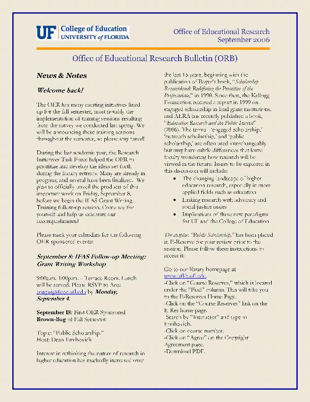 Office of Educational Research bulletin. September 2006. - Page 1