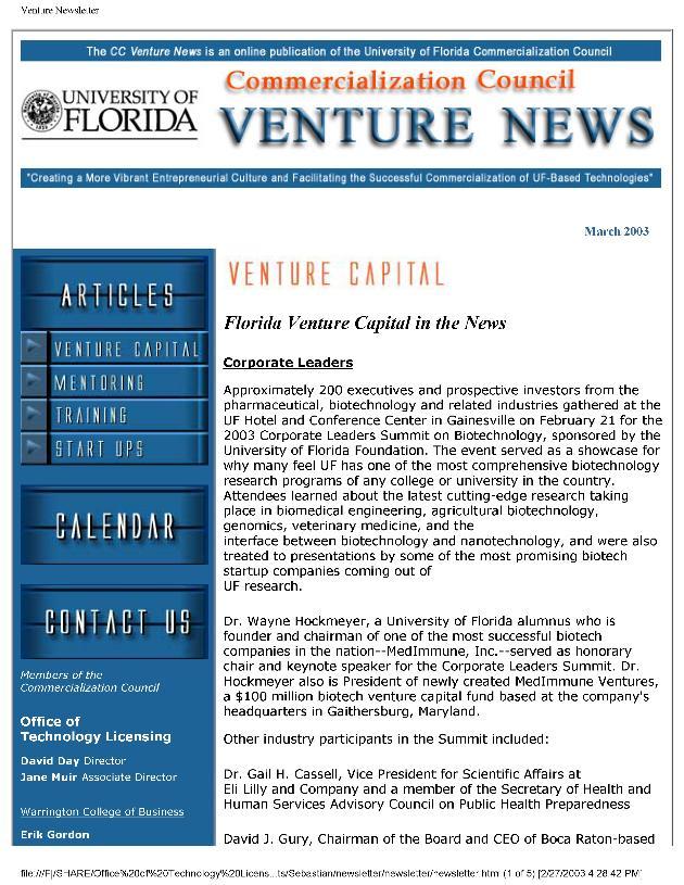 Commercialization Council venture news - Page 1