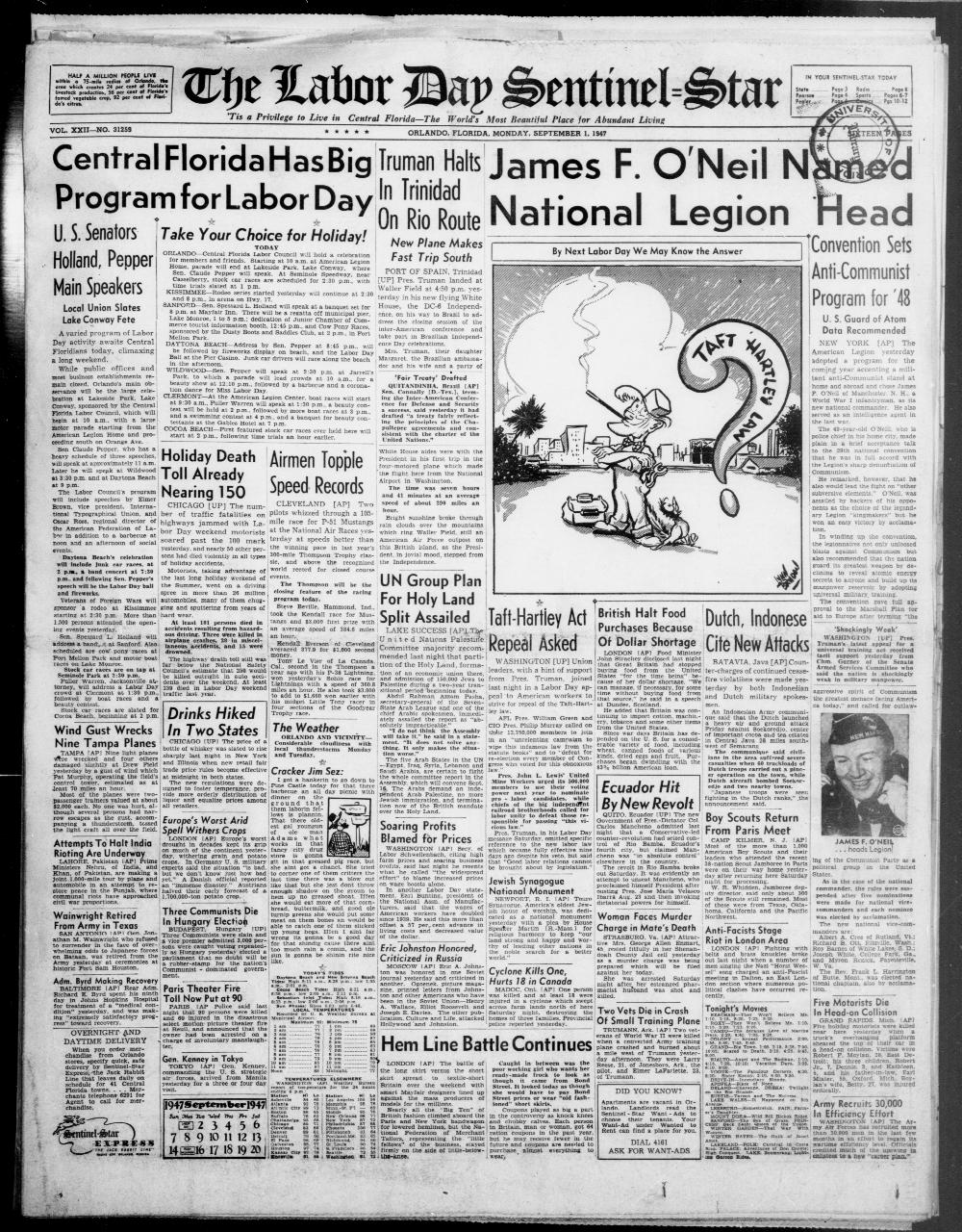 The Labor Day sentinel-star. September 1, 1947. - Page 1