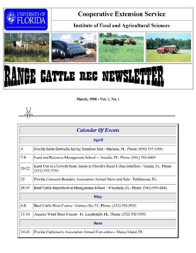 Range Cattle REC newsletter - Page 1