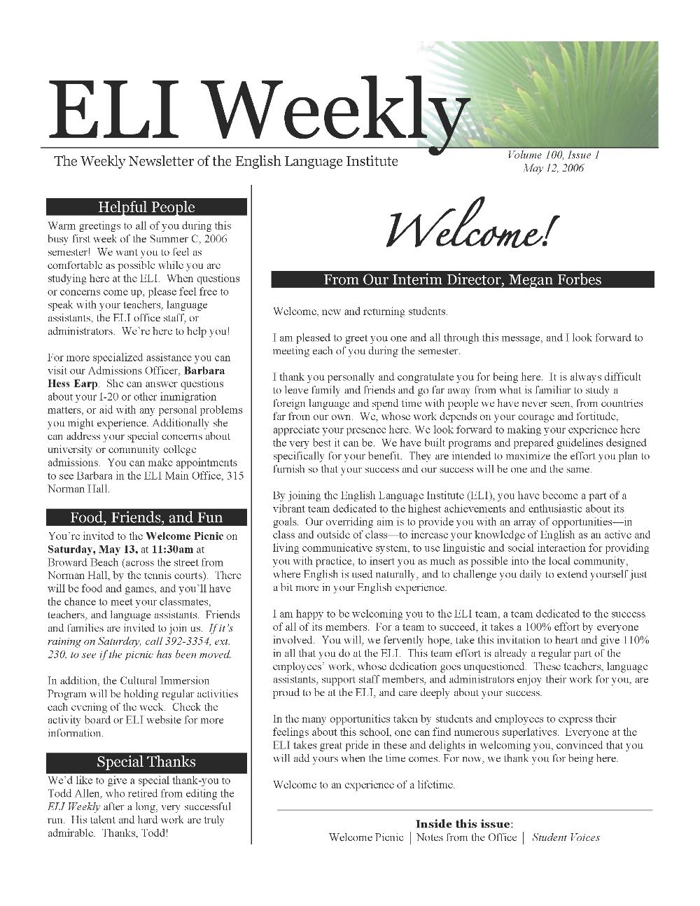 ELI weekly : the weekly newsletter of the English Language Institute - Page 1