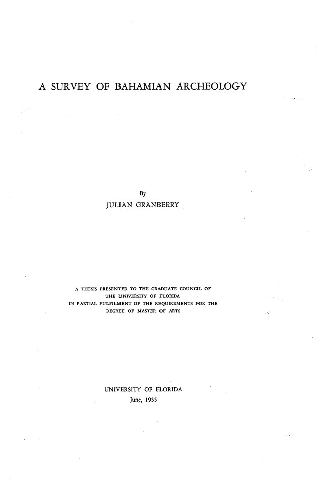 survey of Bahamian archeology ... - Page i