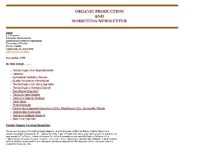 Organic production and marketing newsletter - Page 1