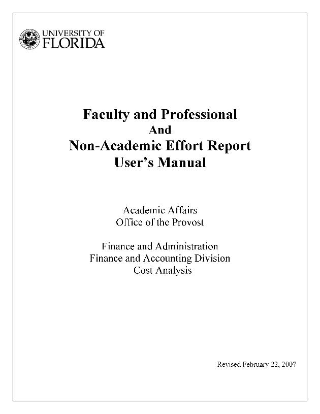 Faculty and professional and non-academic effort report user's manual - Page 1