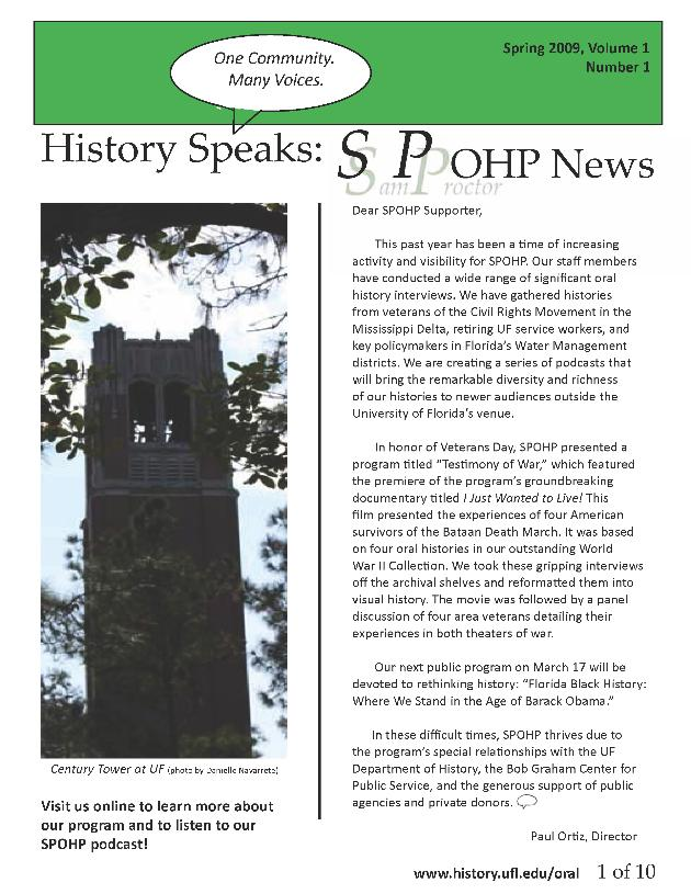 History Speaks: Samuel Proctor Oral Histroy Program News - Page 1