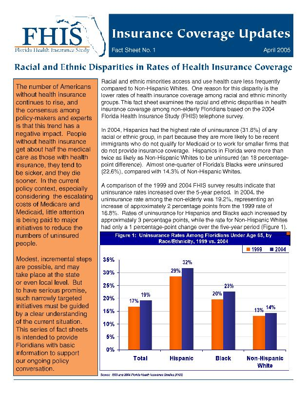 Florida Health Insurance Study fact sheets - Page 1