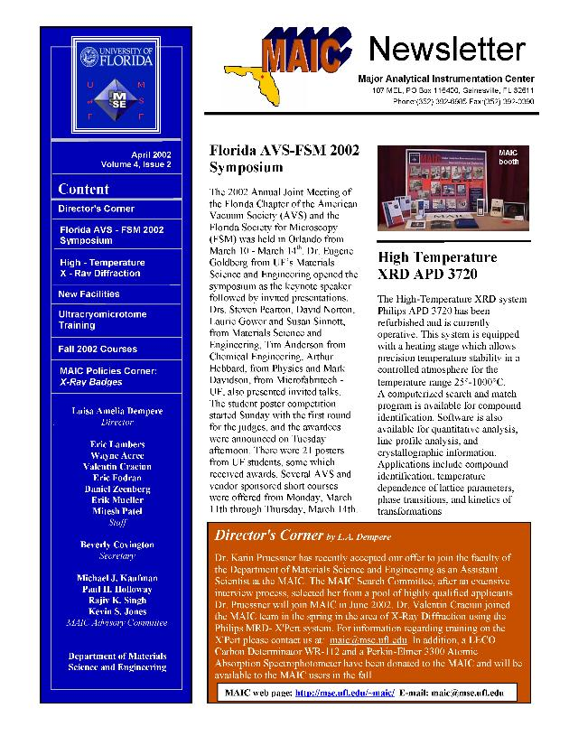 MAIC newsletter - Page 1