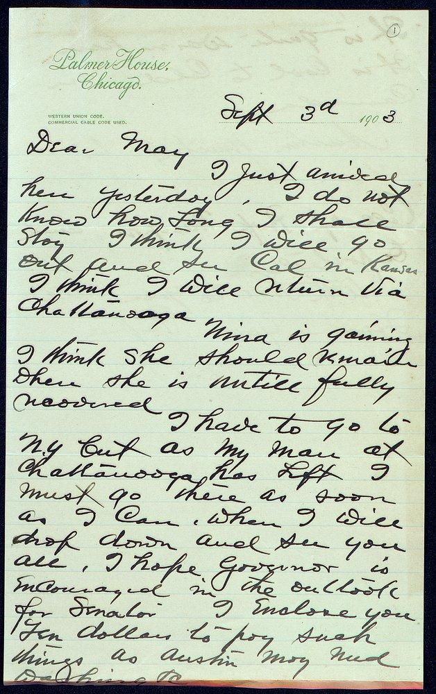 Correspondence: 1903 September-December - Still Image #1