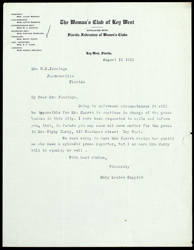 Correspondence: 1915 August - Image 1