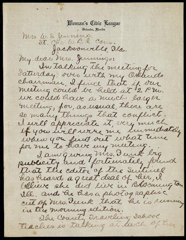 Correspondence: 1918 February - Page 1