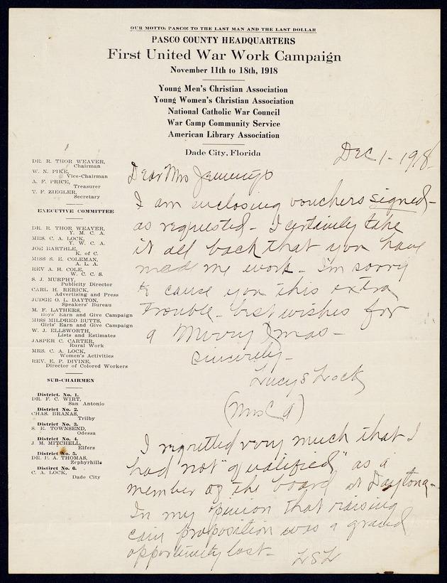Correspondence: 1918 December - Page 1