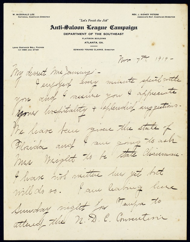 Correspondence: 1919 November - Page 1