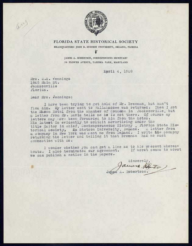 Correspondence: 1928 April-December - Page 1