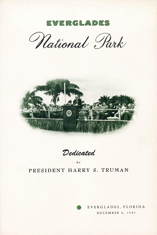 Everglades National Park Dedication Pamphlet - Front Cover 1