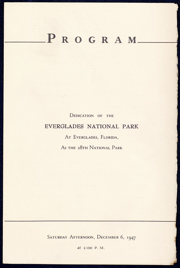 Royal Palm State Park/Everglades National Park (clippings, programs, speeches) - Page 1