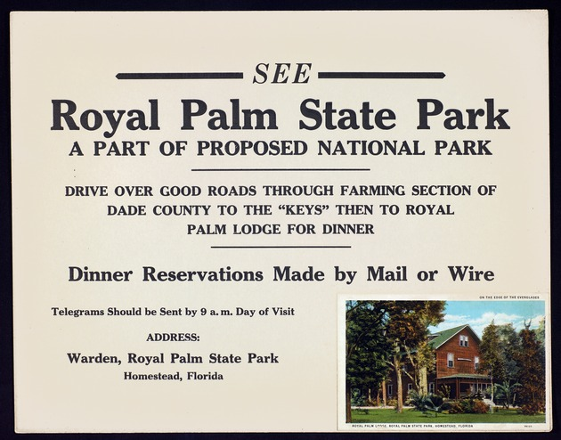 Advertisement (on board): See Royal Palm State Park