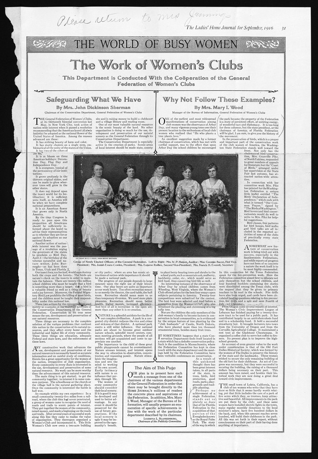 Ladies Home Journal Clipping: The Work of Women's Clubs - Image 1