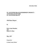 St. Augustine beach nourishment project : Anastasia State Park St. Augistine Beach 1996 Phase I Report