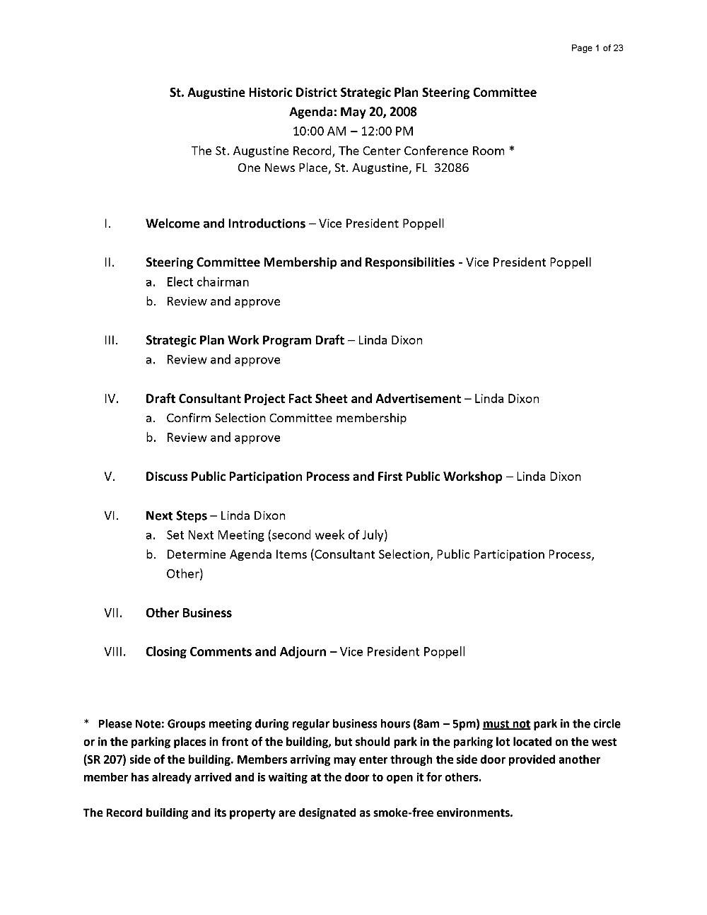 St. Augustine Historic District Strategic Plan Steering Committee and public forum agenda - Page 1