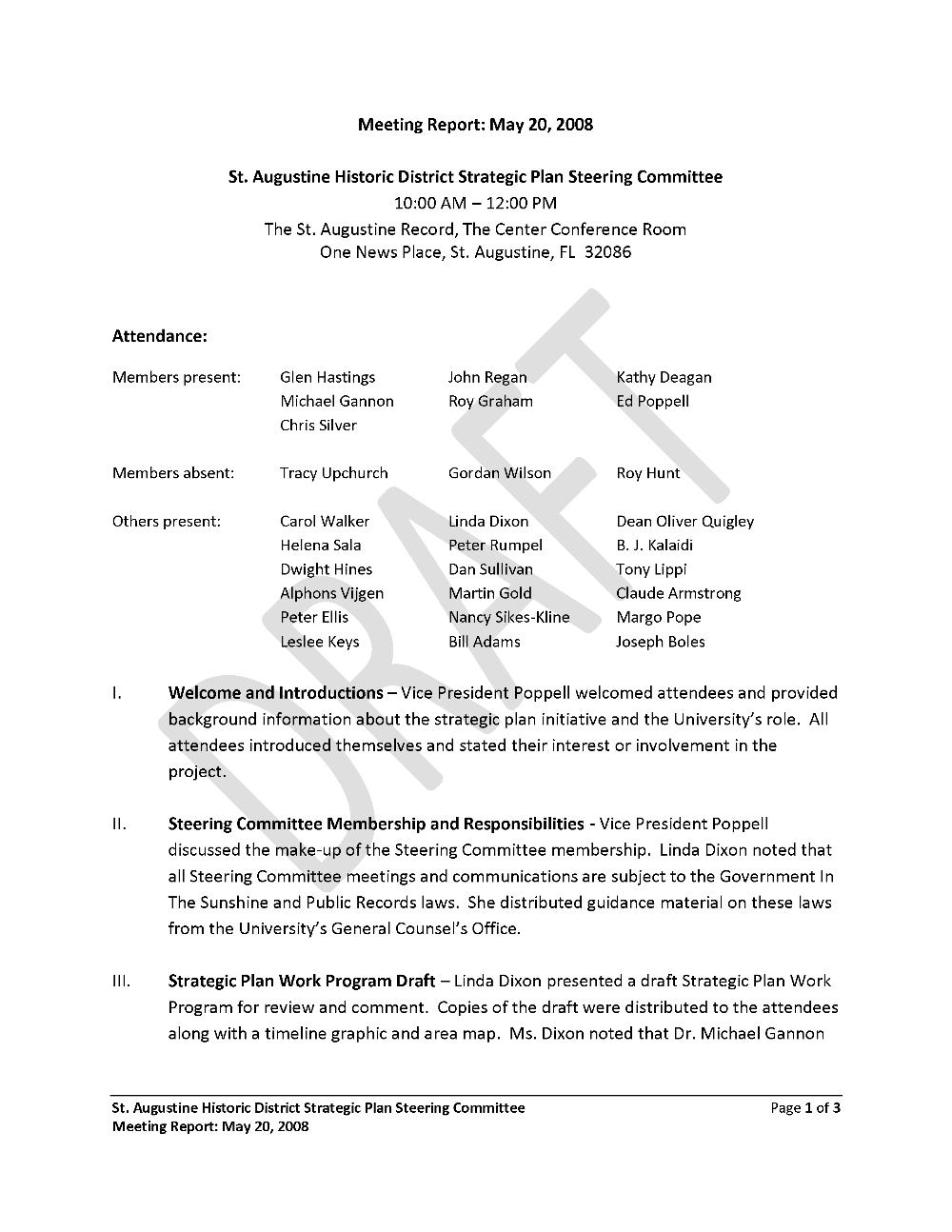 St. Augustine Historic District Strategic Plan Steering Committee meeting report - Page 1