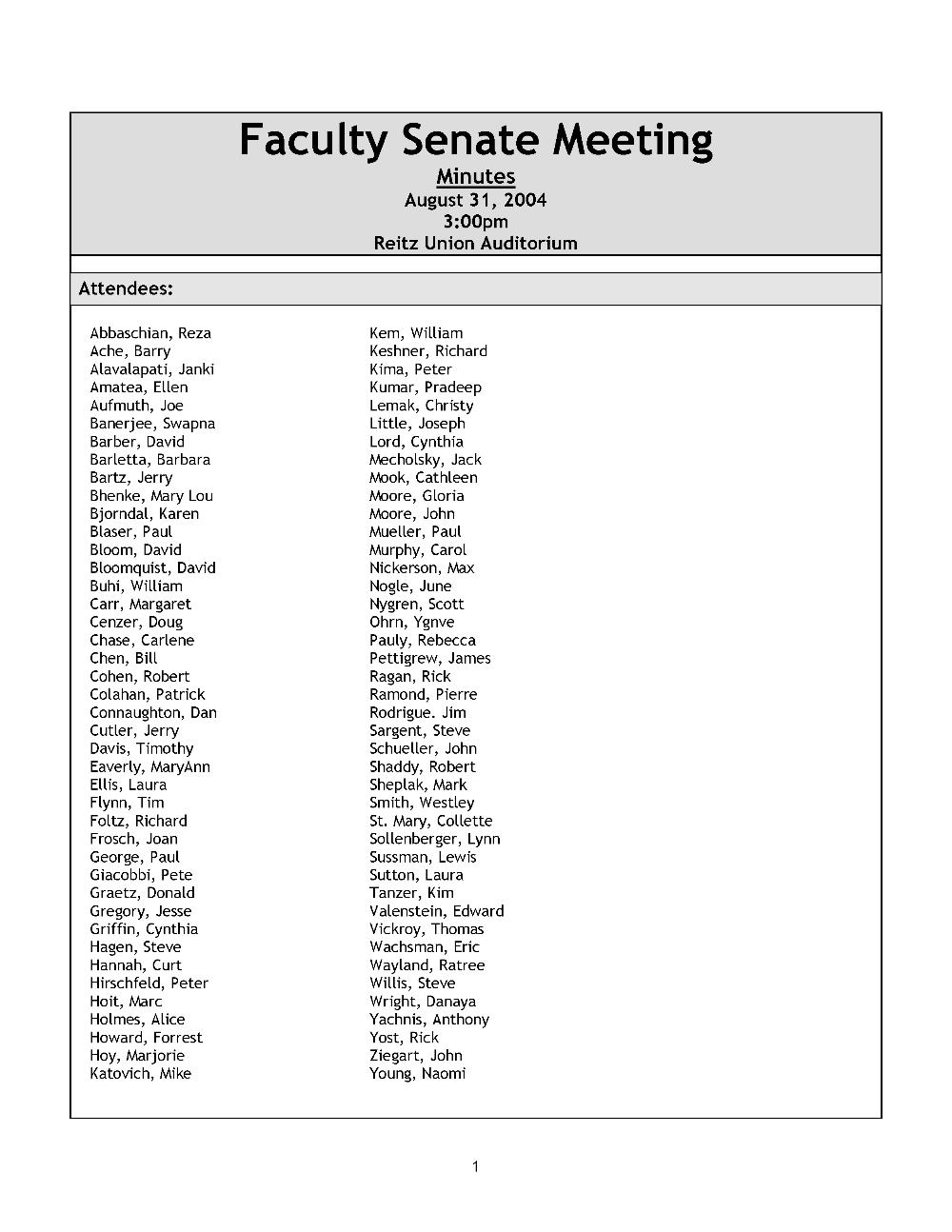 Faculty Senate meeting minutes - Page 1
