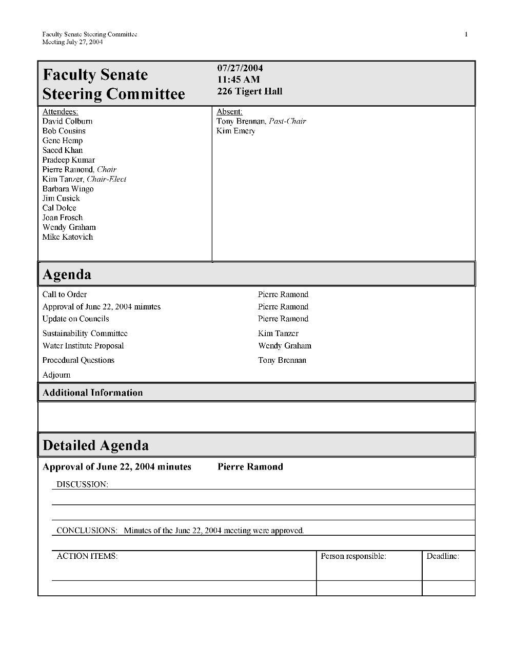 Faculty Senate Steering Committee meeting minutes - Page 1