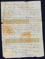 Bellamy, Calvin to his Wife Clarisa- August 1, 1862- Camp Bailey. (1 sheet, 1 leaf)