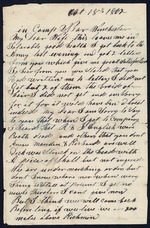 Bellamy, Calvin to his Wife Clarisa- October 18, 1862- In Camp near Winchester.  (1 sheet, 4 leaves)