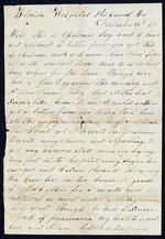 Bellamy, Calvin to his Wife Clarisa- December 25, 1862- Florida Hopsital, Richmond, Va. (1 sheet, 2 leaves)