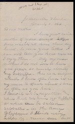Duren, Charles M. to his Mother, March 3, 1864- Jacksonville, Fla.  (2 sheets, 6 leaves)