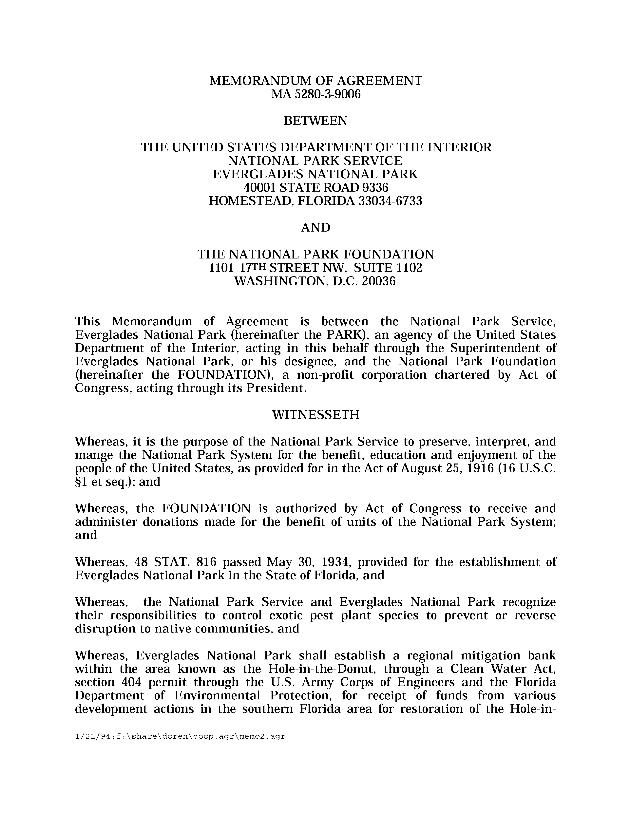 "Memorandum of Understanding on Establishment of ""Freshwater Wetlands Mitigation Trust"" - Page 1"