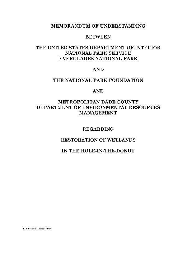 Memorandum of Understanding between U.S. Department of Interior, National Park Service, Everglades National Park; and the National Park Foundation; and Metropolitan Dade County, Department of Environmental Resources Management Regarding Restoration of Wetlands in the Hole-in-the-Donut - Page i