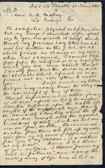 Mallory, Stephen R. to his Wife Angela - Fort La Fayette Prison - June 12, 1865