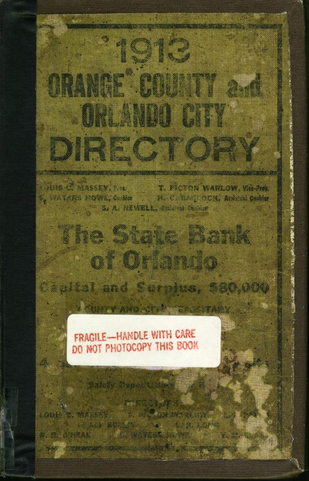1913 Orlando City Directory - Front Cover 1