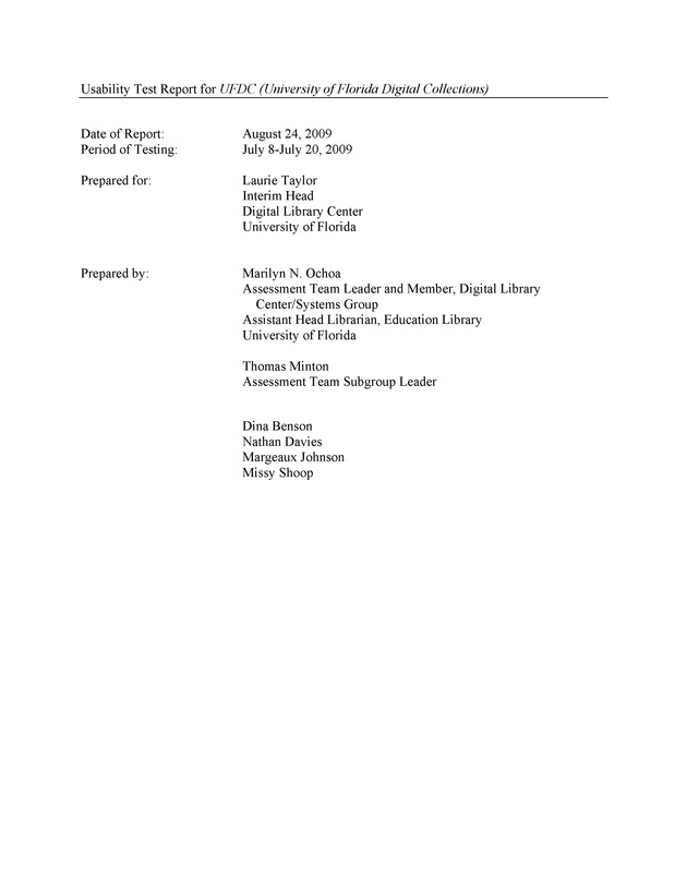 Usability Test Report for UFDC (University of Florida Digital Collections) - Page 1