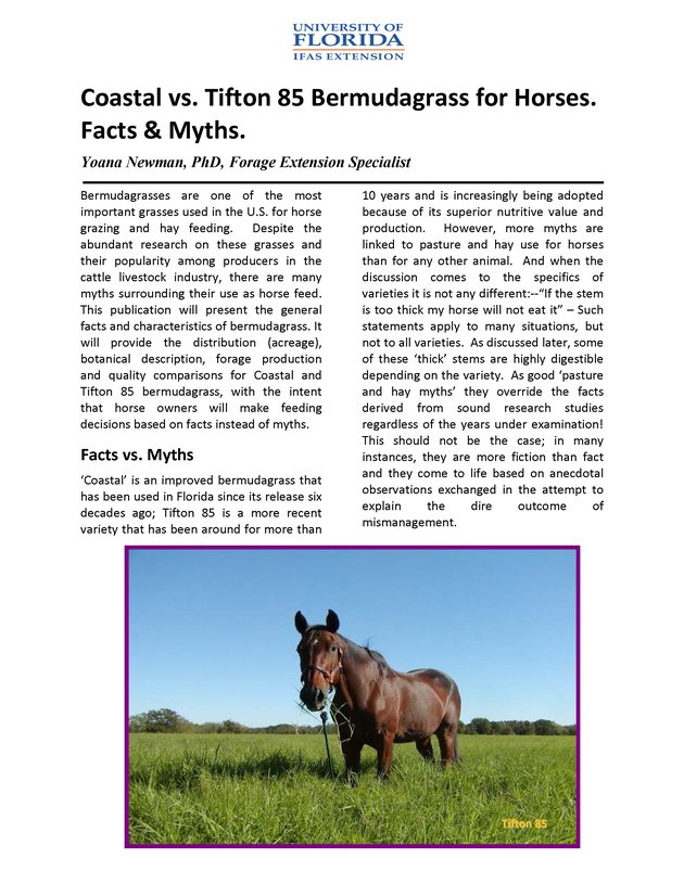 Coastal vs. Tifton 85 Bermudagrass for horses : facts & myths - Page 1