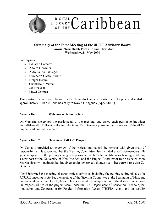 Digital Library of the Caribbean ( dLOC ) Advisory Board Meeting Minutes - Page 1
