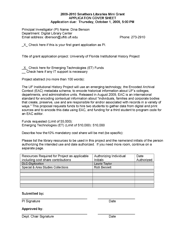 University of Florida Institutional History Project ( mini grant proposal for Encoded Archival Context EAC support ) - Page i
