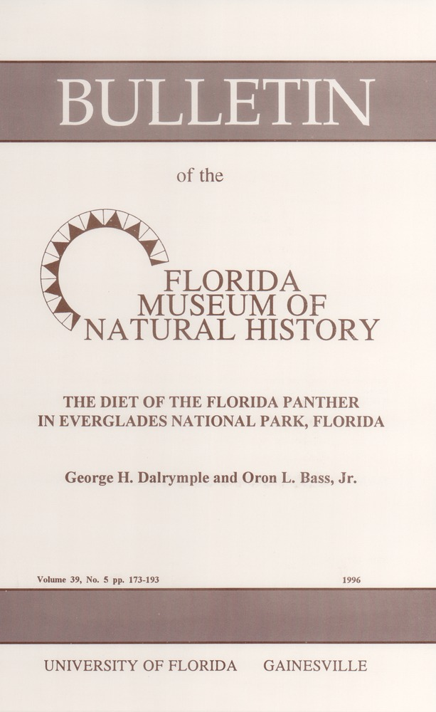 The Diet of the Florida panther in Everglades National Park, Florida - Front cover