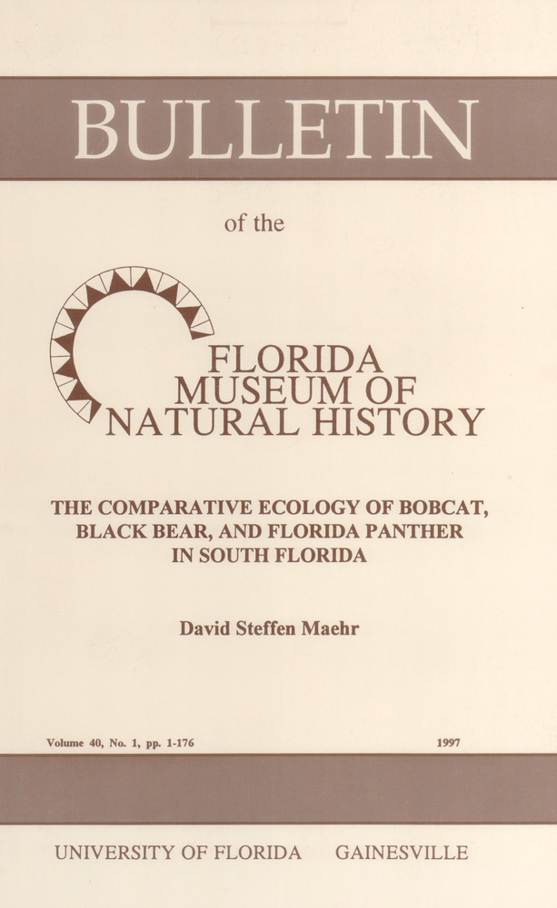 The Comparative ecology of bobcat, black bear, and Florida panther in south Florida - Page i