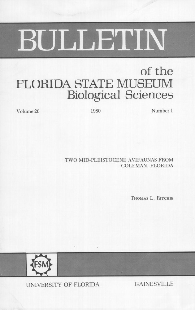 Two mid-Pleistocene avifaunas from Coleman, Florida - Front Cover