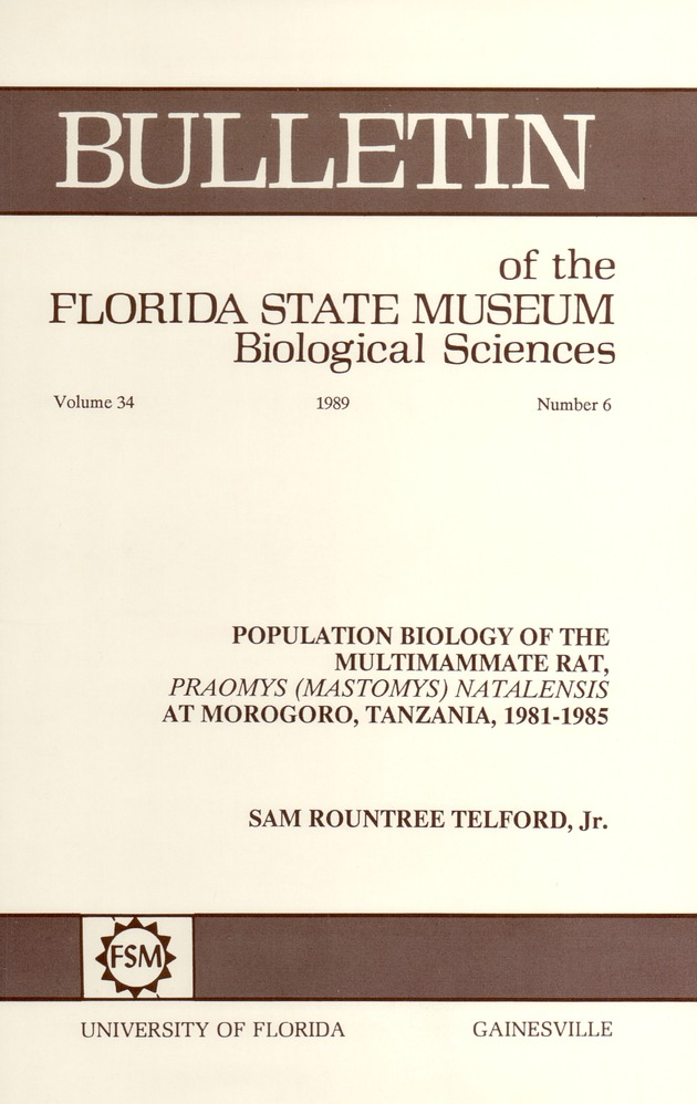 Population biology of the multimammate rat, Praomys (Mastomys) Natalensis at Morogoro, Tanzania, 1981-1985 - Page 247
