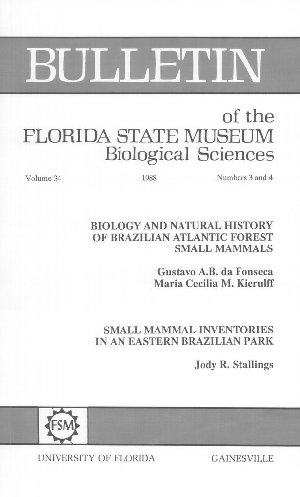 Biology and natural history of Brazilian Atlantic forest small mammals - Front Cover