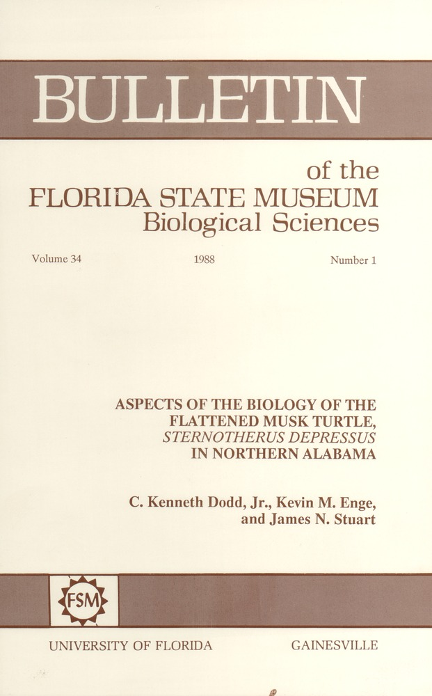 Aspects of the biology of the flattened musk turtle, Sternotherus depressus in northern Alabama - Page i