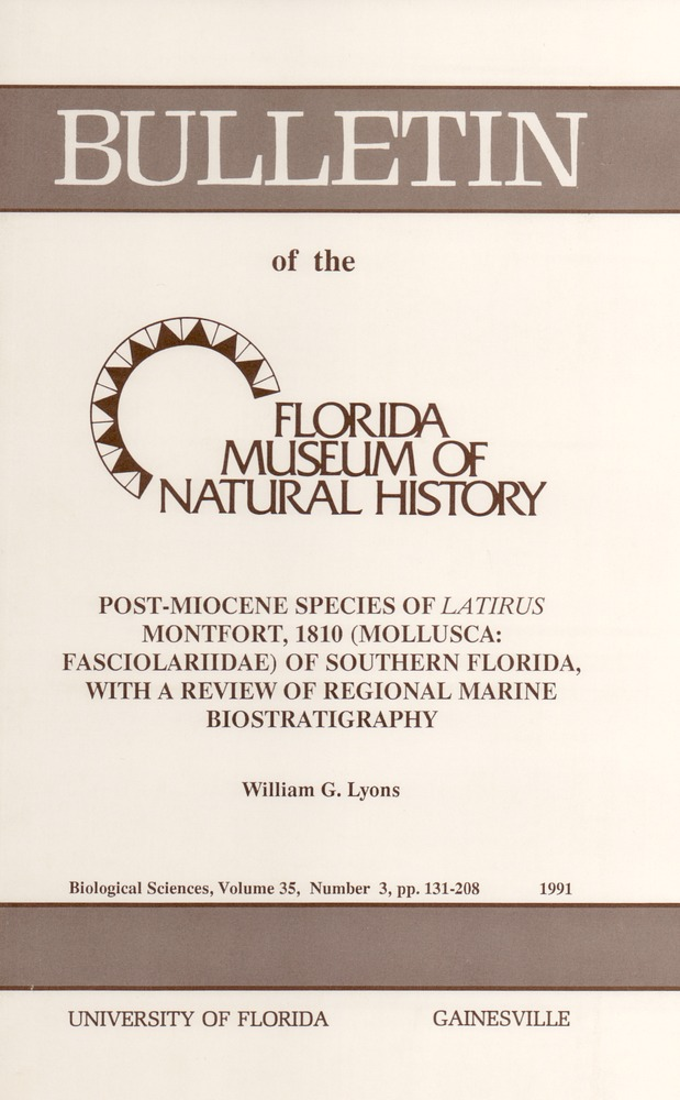 Post-Miocene species of Latirus Montfort, 1810 (Mollusca Fasciolariidae) of southern Florida, with a review of regional marine biostratigraphy - Page 129