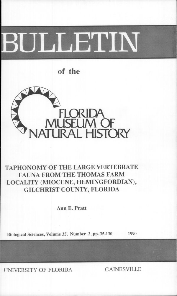 Taphonomy of the large vertebrate fauna from the Thomas Farm locality - Front Cover