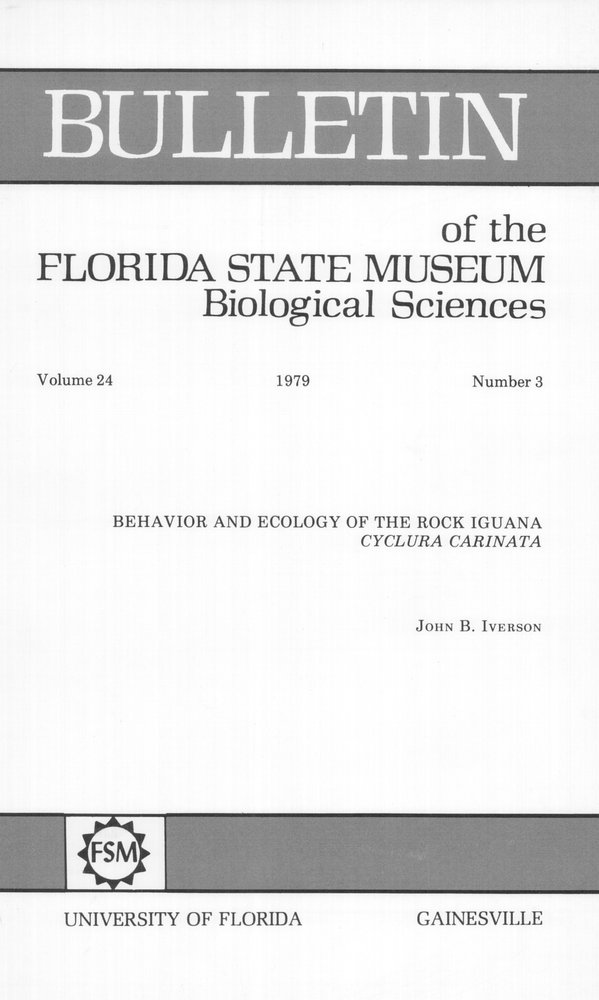 Behavior and ecology of the rock iguana, Cyclura carinata - Front Cover