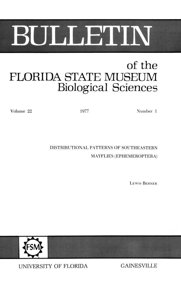 Distributional patterns of southeastern mayflies (Ephemeroptera) - Front Cover