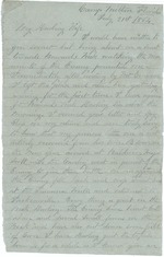Mickler, Jacob E. to his Wife Sallie, July 21, 1864- Camp Milton, Fla. (1 sheet, 2 leaves)