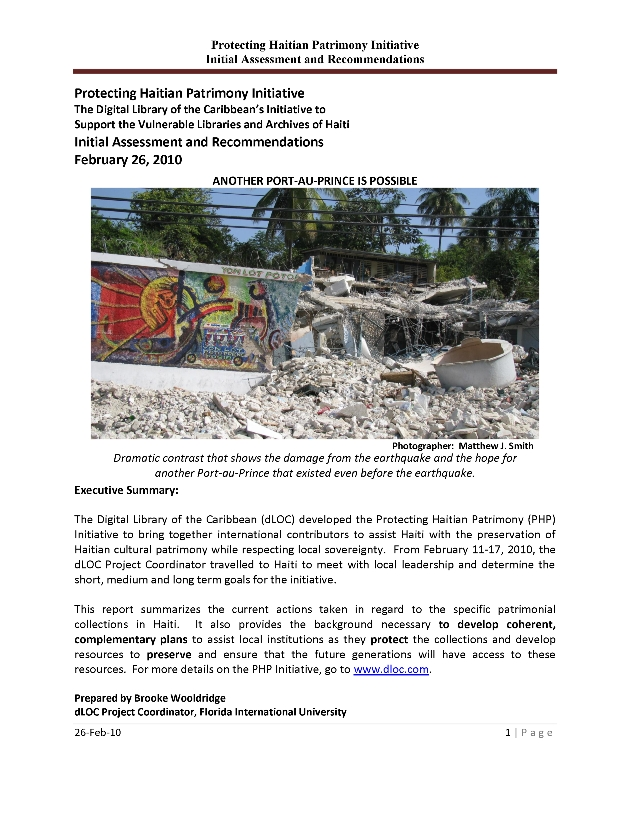 Protecting Haitian Patrimony (PHP) Initiative Report - Page 1